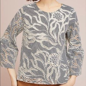 Waverly Grey Bouchon cutout embroidery top